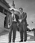 Jeb Bush with his father, Congressman George Bush, at the capital. Circa 1968.jpg