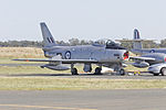 Jeff Trappett (VH-SBR, former military registration A94-352) CAC Sabre Mk.32 on the tarmac during the 2015 Warbirds Downunder Airshow at Temora.jpg