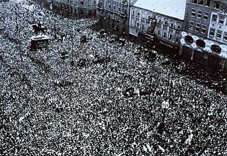 People of Zagreb celebrating liberation from Axis powers by Yugoslav Partisans on 12 May 1945 Jelacicev trg 12.5.1945.jpg