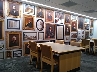 Jenkins Law Library - The wallpaper contains digitized images of portraits that used to hang in Jenkins' Reading Room at 833 Chestnut Street.