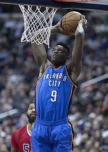 ddc23c356 Jerami Grant (32049656824) crop.jpg. Grant dunking with the Thunder in  2017. No. 9 – Oklahoma City Thunder