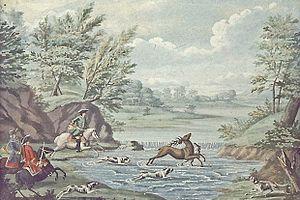 Par force hunting landscape in North Zealand - Par force hunting in North Zealand c. 1750, watercolour by Johan Jacob Bruun