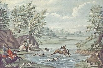 Par force hunting landscape in North Zealand - Par force hunting in North Zealand c. 1750, watercolour by Johan Jacob Bruun