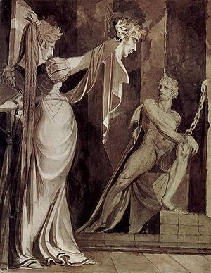 Kriemhild showing Gunther's head to Hagen (Joh...