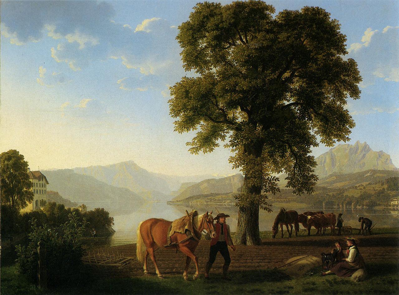 �оганн Якоб Бидерманн крестьянин пашет у озера Люцерн 1813 год.JPG