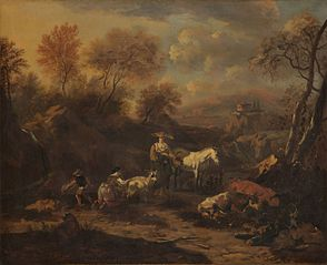 Italian landscape with two shepherdesses