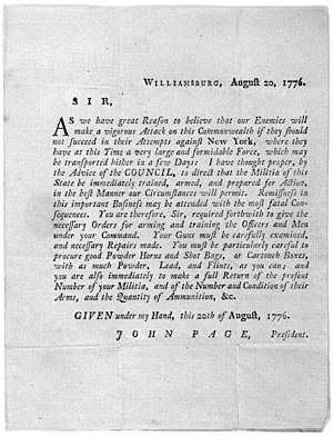 John Page (Virginia politician) - Broadside, order by John Page, president of the council, ordering state militia to be trained and prepared for battle, August 20, 1776