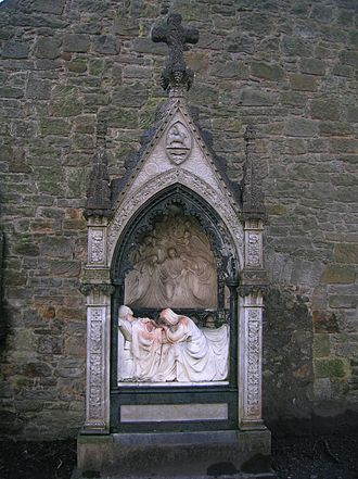 William Brodie (sculptor) - The John Spier memorial, designed by F T Pilkington and sculpted by William Brodie, now at Beith Auld Kirk. It had been in Spier's school.