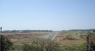 Juhu Aerodrome - Runway 08/26, pointing towards the Arabian Sea
