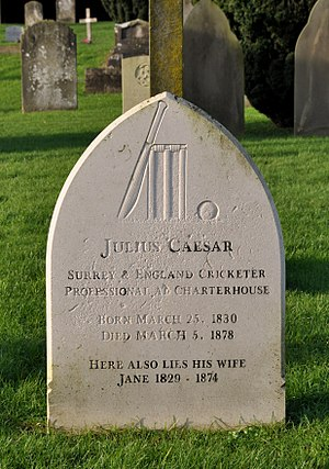 Julius Caesar (cricketer) - Caesar's grave in Nightingale cemetery Godalming