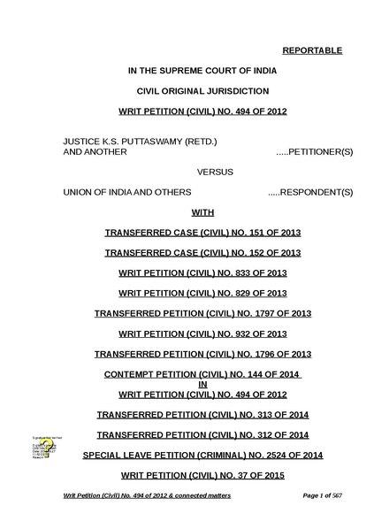 File:Justice K. S. Puttaswamy (Retd.) and Anr vs Union of India and Ors (Aadhaar Judgement).pdf
