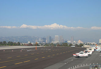 Santa Monica Airport - Facing east toward Century City and landing aircraft