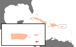 Location of the United States Virgin Islands (red) relative to Puerto Rico (large island) in the Caribbean.