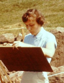 Karin Aasma at an archaeological site 1960 (cropped).jpg
