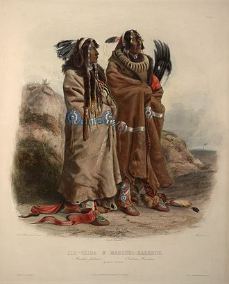 "Mandan - A pair of Mandan men in a print by Karl Bodmer, 19th century. Yellow Feather at left, ""son of a celebrated chief"". He was killed by a Sioux around a year after Bodmer painted him."