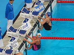Kazan 2015 - Simmonds and Graf before 200m semi backstroke.JPG