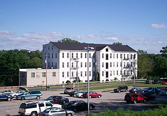 """Kent Industrial District - The former Alpaca Mill, known locally as the """"Silk Mill"""" along River Street (SR 43). Today it is home of the Silk Mill Apartments."""