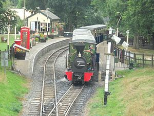 Great Whipsnade Railway - An overview of Whipsnade Central Station sees Kerr Stuart 0-4-2ST Brazil Class No. 2 'Excelsior' and train being prepared for a day's work