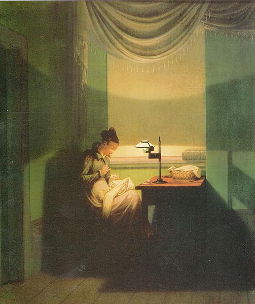 File:Kersting - Junge Frau, beim Schein einer Lampe nähend.jpg