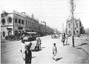 Mohamedali Tramways Company - Street scene with tram in Karachi, ca. 1900.