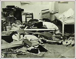 Operation Agatha - A room in Kibbutz Yagur after a weapon search conducted during Operation Agatha. From the collections of the National Library of Israel.