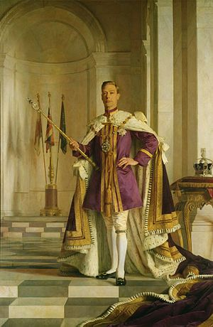 George VI - George VI holds the Sceptre with the Cross, containing the 530-carat Cullinan I Diamond. The Imperial State Crown is on the right. Portrait by Sir Gerald Kelly.