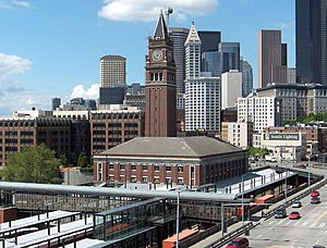 King Street Station - View from southeast, city skyline in background
