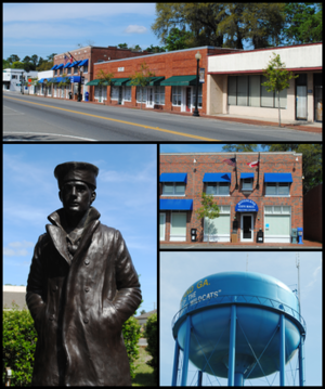 Kingsland, Georgia - Top, left to right: Downtown Kingsland, statue representing the United States Navy in the Kingsland Veterans Park, Kingsland City Hall, water tower.
