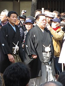 Kitanoumi with Takanohana in 2013. Kitanoumi and Takanohana in Sumiyoshi Taisha IMG 1433-2 20130302.JPG