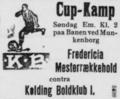Kolding BK v Fredericia BK, 1926 JBUs Pokalturnering, match advertisement on 21 August 1926 in Kolding Social-Demokrat.png