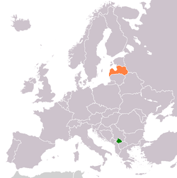 Map indicating locations of Kosovo and Latvia