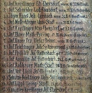 Battle of Neuve Chapelle - Detail of the war memorial in the village of Preying (Saldenburg, Bavaria) naming Infantryman Mathias Ebner as killed during the Battle of Neuve Chapelle, 12 March 1915