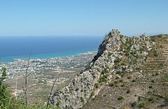 Kyrenia and the Mediterranean Sea from Saint Hilarion Castle