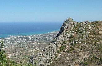 Saint Hilarion Castle - Image: Kyrenia from St hilarion edit 2