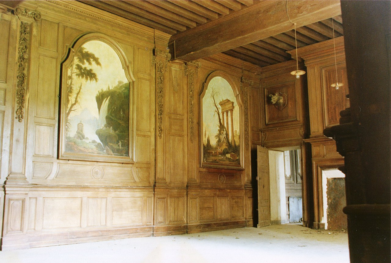 file l 39 ancienne abbaye de loroy en 1987 salle manger d cor jpg wikimedia commons. Black Bedroom Furniture Sets. Home Design Ideas