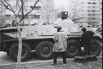 Drumul Taberei - TAB-71 on Miron Constantinescu (currently Sibiu) street during the armed conflict at the Ministry of Defense buildings