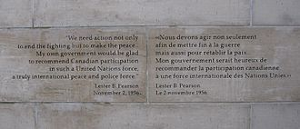 Peacekeeping Monument - Pearson's quotation
