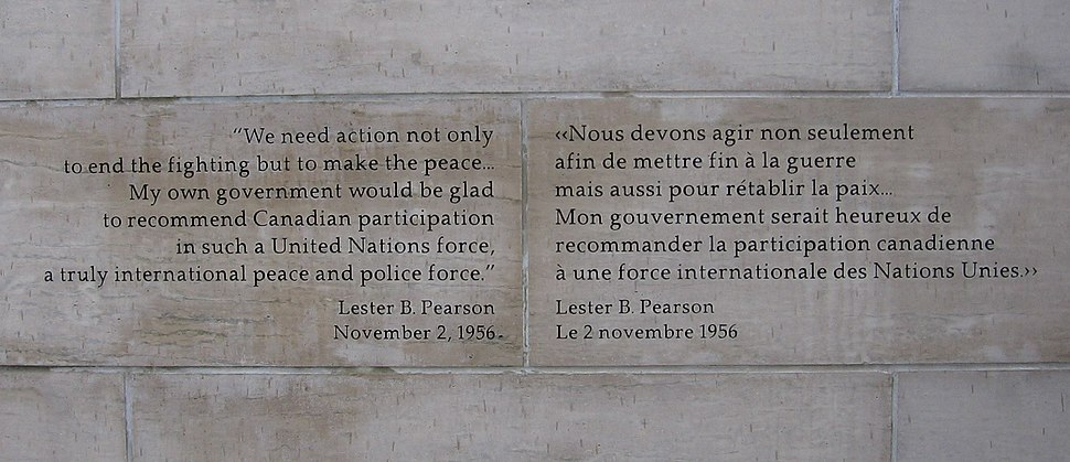 LPB quote on Peacekeeping Monument