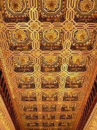 Techumbre mudéjar en la sala del trono de la Aljafería