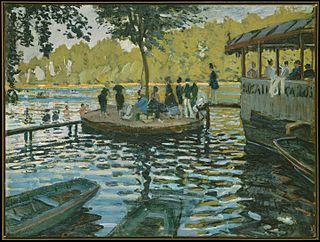 <i>Bain à la Grenouillère</i> painting by Claude Monet, 1869