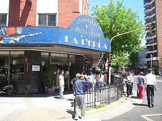 Plaza Miserere - Café La Perla del Once, facing Plaza Miserere