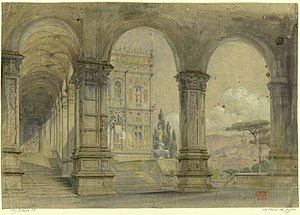 La reine de Chypre - Set design for Act I by Charles-Antoine Cambon
