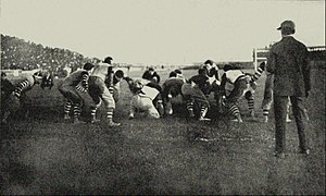 "Lafayette Leopards football -  Lafayette holds Penn on defense in the 1896 ""National Championship game"" at Franklin Field on October 24. Lafayette won in a 6–4 upset, the only loss for Penn in a 66-game stretch. Two Lafayette players are wearing the first football helmet, one of them being inventor George ""Rose"" Barclay."