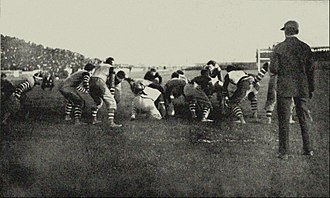 "Parke H. Davis -  Lafayette on defense in its 6–4 upset victory over Pennsylvania on October 24, 1896 at Franklin Field in Philadelphia.  ""Football – The American Intercollegiate Game,"" written by Parke H. Davis in 1911 (no longer in copyright)"
