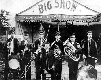 Chink Martin - Martin (second from right) on bass horn with Jack Laine's band in 1910
