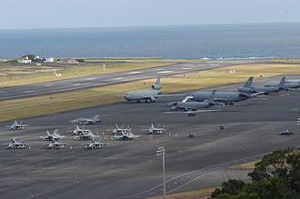 Lajes Field - Lajes Field flightline with USAF KC-10As,   KC-135Rs and USMC F/A-18Ds.