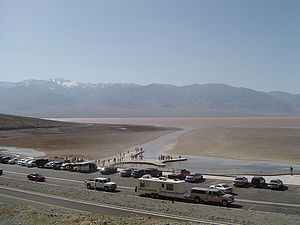 2005 in the United States - March 15: Unusually high precipitation in the winter of 2005 caused an ephemeral lake to occur in the Badwater Basin of Death Valley National Park.