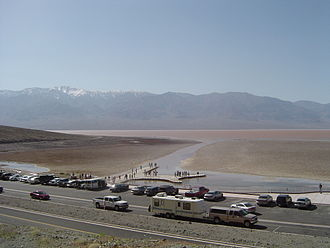 Climate of California - High precipitation in 2005 caused an ephemeral lake in the Badwater Basin of Death Valley.