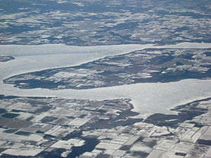 Lake Scugog - Lake Scugog seen from the air in winter