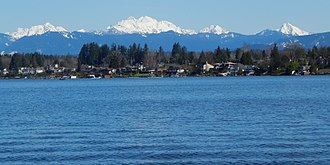Lake Stevens, Washington - Cascade mountains seen from Wyatt Park